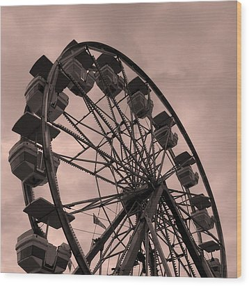 Ferris Wheel Pink Sky Wood Print by Ramona Johnston