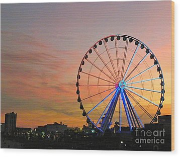 Wood Print featuring the photograph Ferris Wheel Sunset 2 by Eve Spring