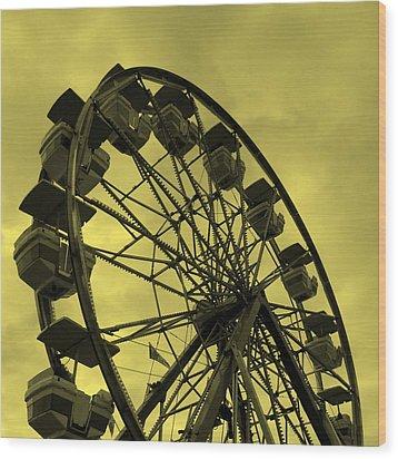 Ferris Wheel Yellow Sky Wood Print by Ramona Johnston