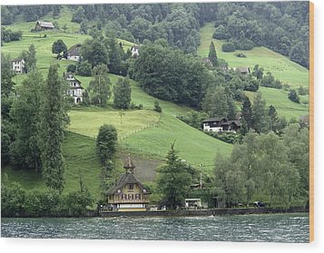 Few Houses On The Slope Of Mountain Next To Lake Lucerne Wood Print by Ashish Agarwal
