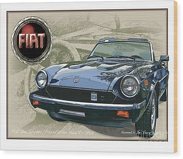 Fiat Spyder Wood Print by Kenneth De Tore