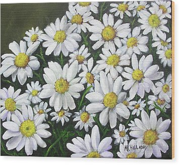 Wood Print featuring the mixed media Field Of Daisies by Mary Kay Holladay