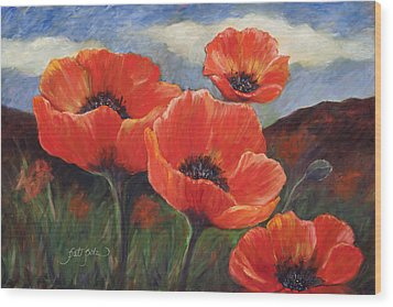 Field Of Orange Poppies Wood Print