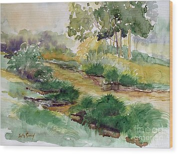 Field Of Streams Wood Print