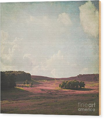 Fields Of Heather Wood Print by Lyn Randle