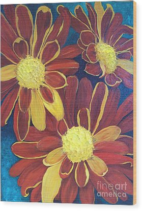 Wood Print featuring the painting Fiesta Daisies by Lucia Grilletto