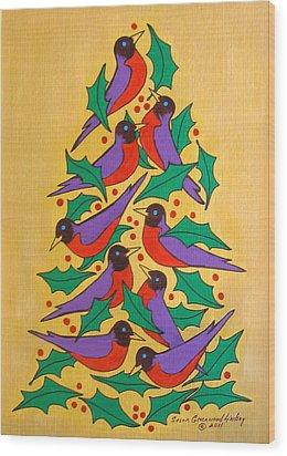 Fiesta Of Robins Wood Print