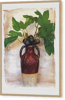 Fig Branch In Europeon Pottery Wood Print by Marsha Heiken