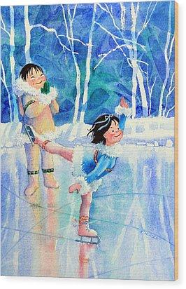 Figure Skater 15 Wood Print by Hanne Lore Koehler