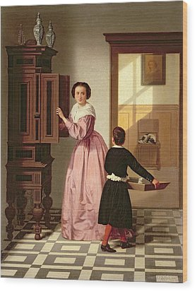 Figures In A Laundryroom Wood Print by Gustaaf Antoon Francois Heyligers