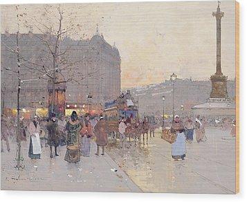 Figures In The Place De La Bastille Wood Print by Eugene Galien-Laloue