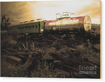 Final Stop Express . Sepia . 7d8995 Wood Print by Wingsdomain Art and Photography