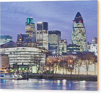 Financial City Skyline, London Wood Print by John Harper