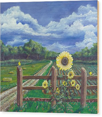 Finch Farm Wood Print by Jim Miller