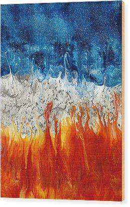 Fire And Ice Wood Print by Paul Tokarski