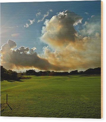 Fire Clouds Over A Golf Course Wood Print by Kirsten Giving