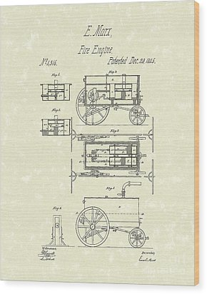 Fire Engine 1845 Patent Art Wood Print by Prior Art Design