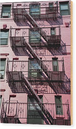 Fire Escape Wood Print by Axiom Photographic