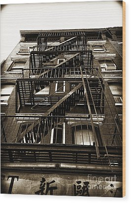 Fire Escape Wood Print by Thanh Tran
