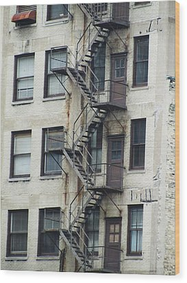 Fire Escape Wood Print by Todd Sherlock