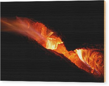 Fire Eyes Wood Print