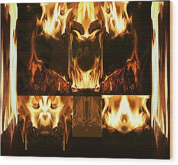 Fire Faces Wood Print by Janet Kearns