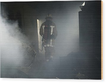 Fire Fighter In A Burnt House Wood Print by Michael Donne