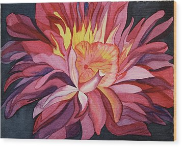 Wood Print featuring the painting Fire Floral by Teresa Beyer