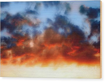 Fire In The Sky Wood Print by Andee Design