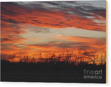 Wood Print featuring the photograph Fire In The Sky by Mark McReynolds