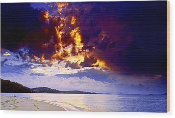 Wood Print featuring the photograph Fire In The Sky by Paul Svensen