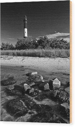 Fire Island In Black And White Wood Print