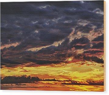 Fire Lake Wood Print by Skip Nall