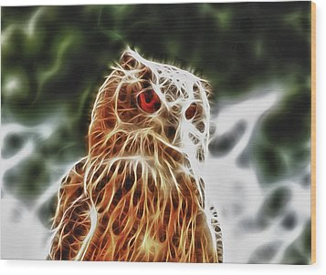 Fire Owl Wood Print by Tilly Williams
