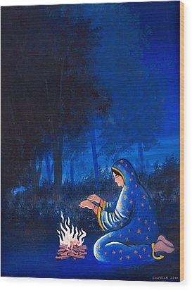 Fire Side Wood Print