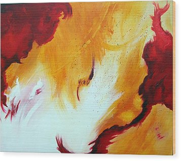 Wood Print featuring the painting Fire Storm by Mary Kay Holladay