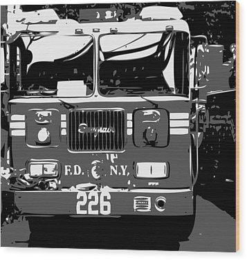 Fire Truck Bw3 Wood Print by Scott Kelley