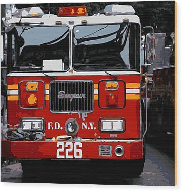 Fire Truck Color 16 Wood Print by Scott Kelley