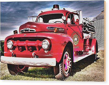 Wood Print featuring the photograph Fire Truck by Susi Stroud