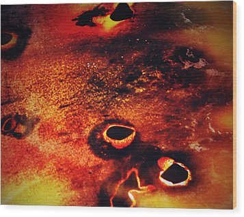 Fire Wall Wood Print by Jerry Cordeiro