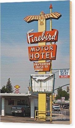 Firebird Motor Hotel Wood Print by Lawrence Burry