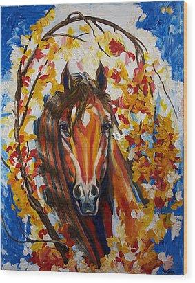 Firefall Horse Wood Print by Yelena Rubin