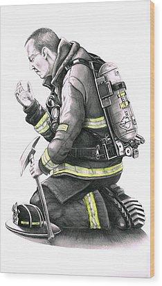 Firefighter Wood Print by Murphy Elliott