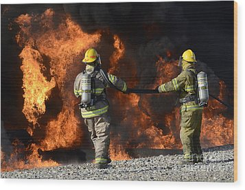 Firefighters In Action 3 Wood Print by Bob Christopher