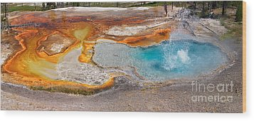 Firehole Spring Splash Wood Print