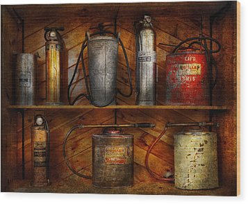 Fireman - Fire Control Wood Print by Mike Savad