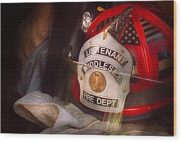 Fireman - Hat - The Lieutenants Cap  Wood Print by Mike Savad