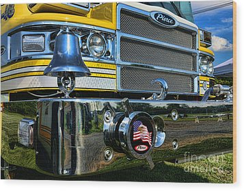 Fireman - Pierce Fire Truck Wood Print by Paul Ward