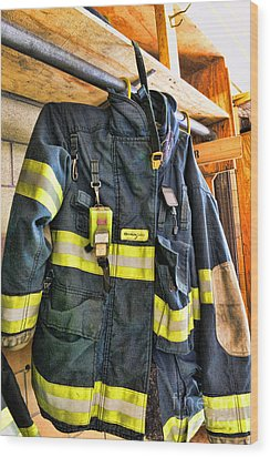 Fireman - Saftey Jacket Wood Print by Paul Ward