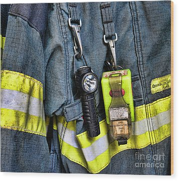 Fireman - The Fireman's Coat Wood Print by Paul Ward